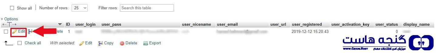 edit password wordpress