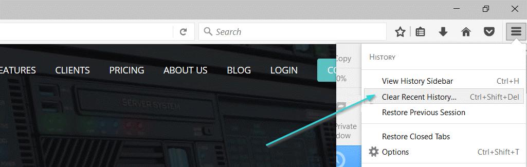 مراحل حذف کش مرورگر در فایرفاکس