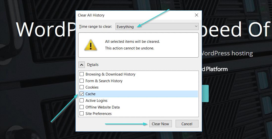 مراحل حذف کش در فایرفاکس