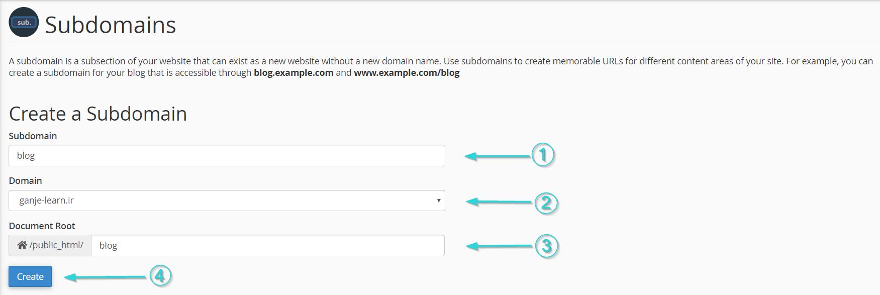 """در بخش """"Subdomains"""" اطلاعت مربوط به زیر دامنه را وارد کنید."""