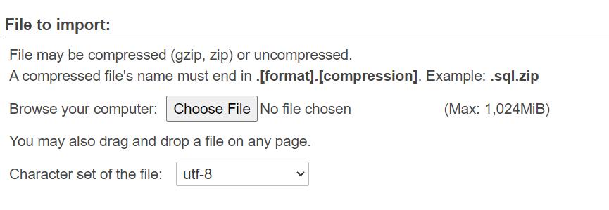 فایل دیتابیس را آپلود کنید