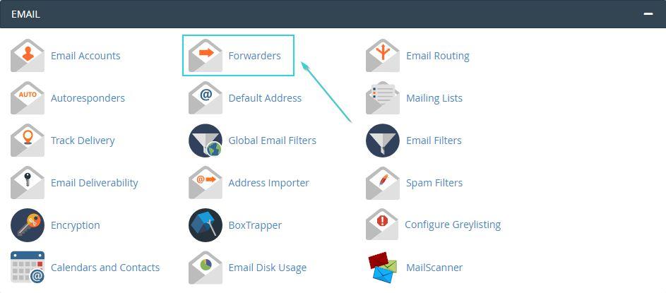 """برای انتقال ایمیل در سی پنل، روی """"Forwarders"""" کلیک کنید"""