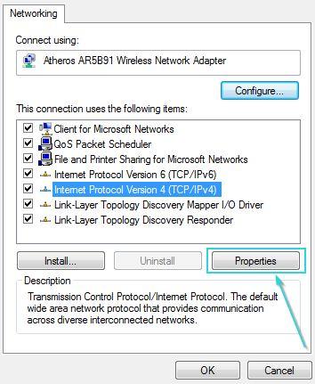 تیک گزینهی (Internet Protocol version4 (TCP/IPv4 را فعال کنید.