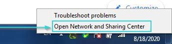 به عنوان یکی از روشهای رفع خطای This Site Can't Be Reached باید روی Open Network and Sharing Center کلیک کنید.