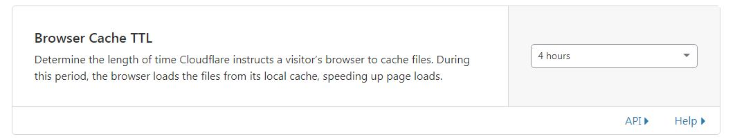 """تنظیمات مربوط به زبانه """"Browser Cache TTL"""" در کش کلودفلر"""
