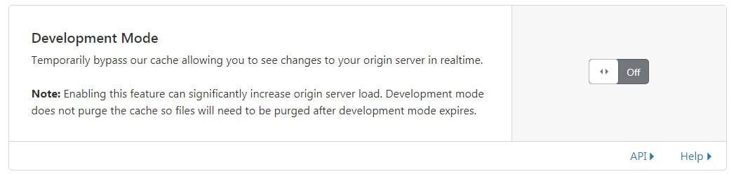 """تنظیمات مربوط به زبانه """"Development Mode"""" در کلودفلر"""