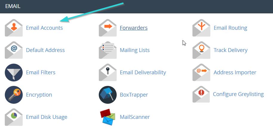بخش ایمیل اکانت در سی پنل