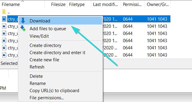 نحوه دانلود فایل با FileZilla