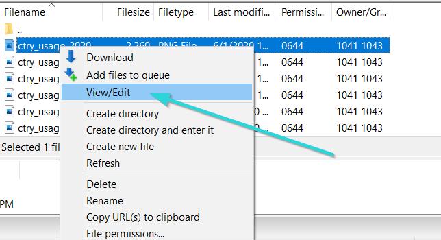 ویرایش فایل ها در نرم افزار FileZilla