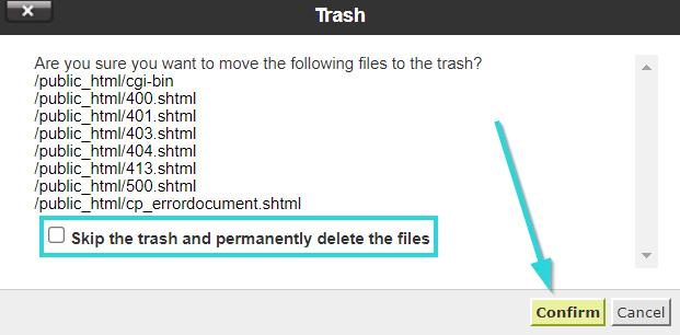 حذف فایل در سی پنل