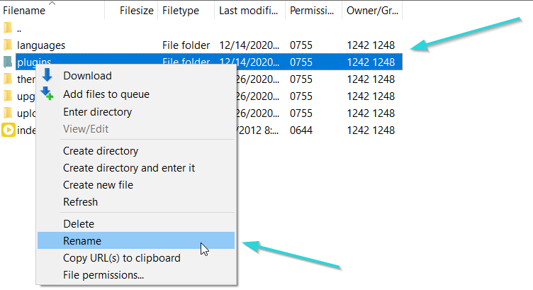 غیر فعال کردن افزونه با فایلزیلا