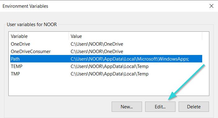 ابزار edit system variables