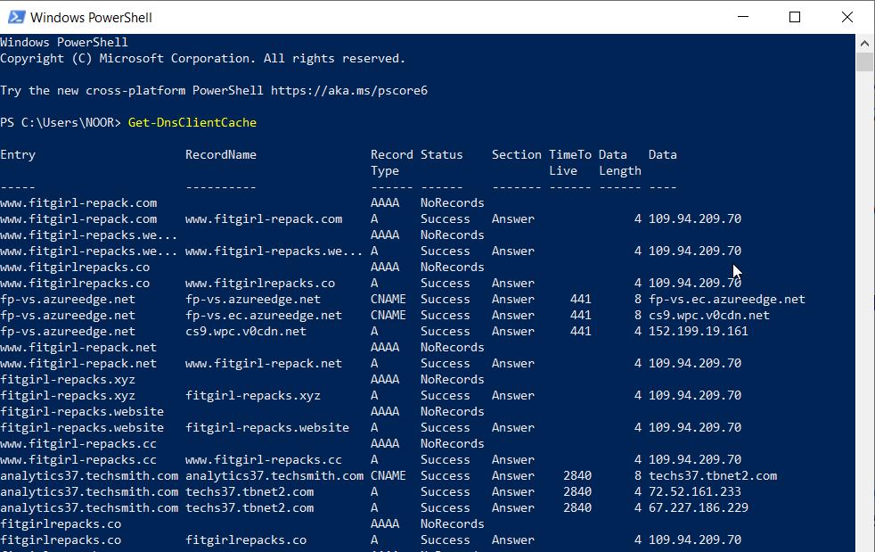 مشاهده کش DNS در ویندوز