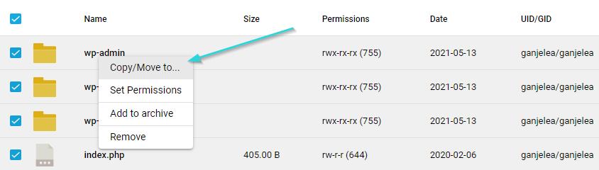 انتقال فایل وردپرس