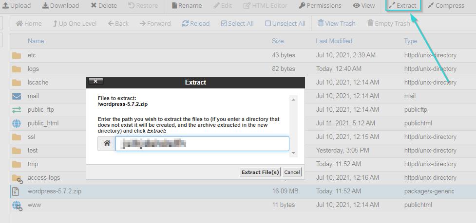 اکسترکت کردن فایل در هاست