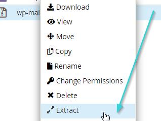 اکسترکت کردن فایل افزونه در هاست