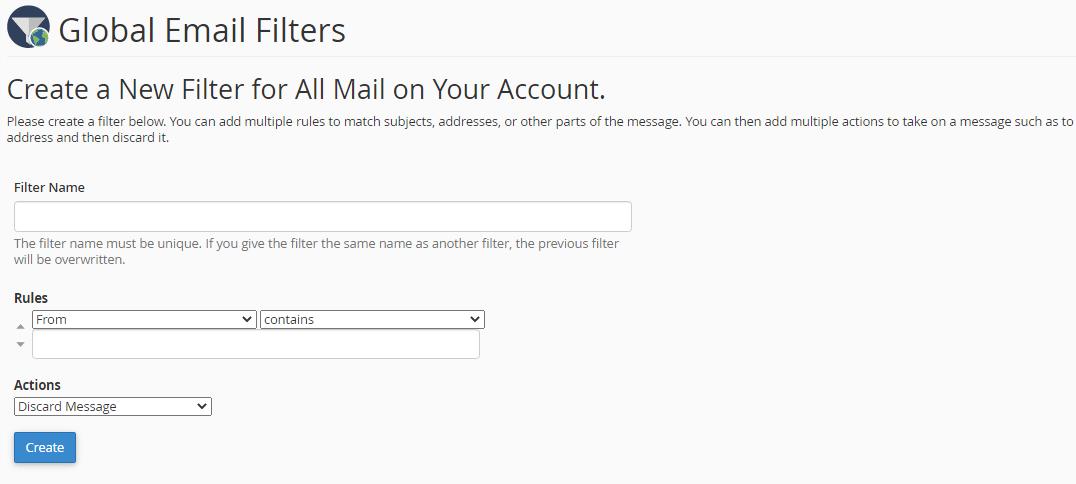 مراحل فیلتر کردن ایمیل اسپم در سی پنل