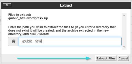 اکسترکت کردن فایل وردپرس در Public-html